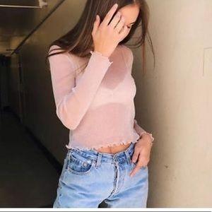 Brandy Melville Pink Renee glitter top